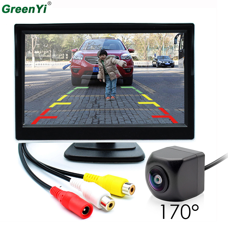 GreenYi 2In1 Car Parking System 170 Degree Fisheye Lens Car Rear View Camera with 5 inch