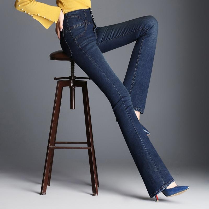 Autumn High Waist Flare Jeans Pants Size 26-33 Stretch Skinny Jeans Women Wide Leg Slim Hip Denim Boot Cuts