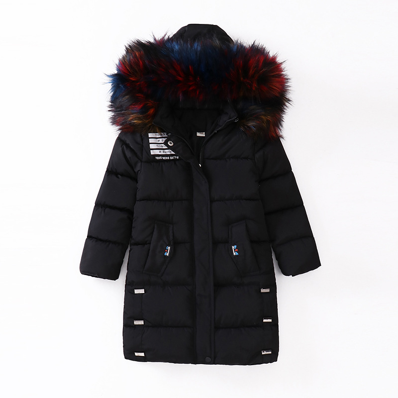 Hurave 2018 INS New warmer outerwear Children full sleeve baby pockets Girls clothes Kids Faux Fur hooded zipper down coats