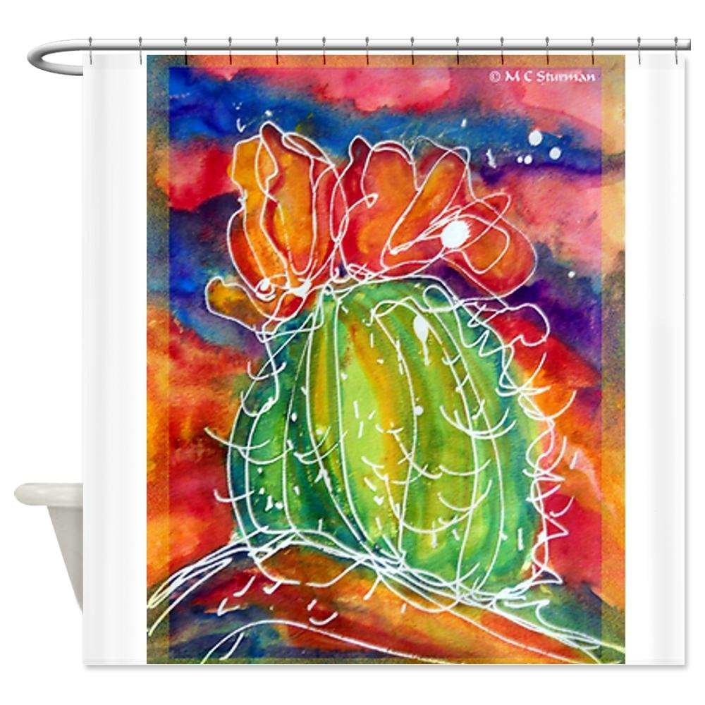 Cactus, Southwest Art! Decorative Fabric Shower Curtain Set Non-Slip Bathroom Mats Home Room Doormat