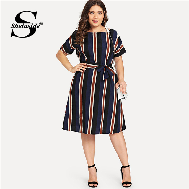 Sheinside Plus Size Colorblock Belt Striped Dress Women A Line Short Sleeve Summer Dresses 2019 Ladies Casual Flared Midi Dress