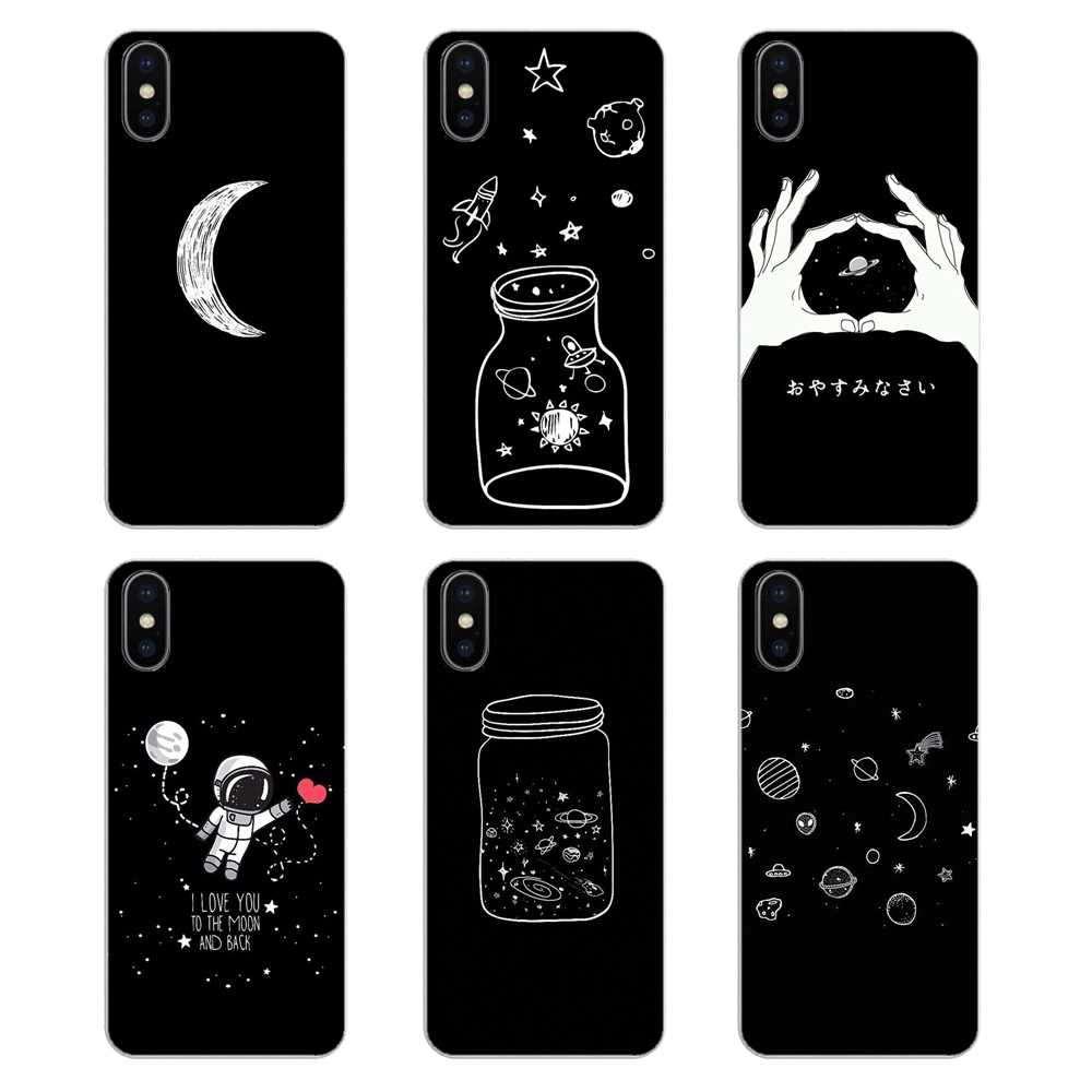 For Sony Xperia Z Z1 Z2 Z3 Z5 compact M2 M4 M5 E3 T3 XA Aqua LG G4 G5 G3 G2 Mini black white moon stars space Soft Silicone Case