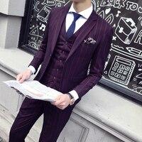 Sensfun Terno синий полосатый смокинг мужской костюм блейзеры куртка и брюки костюм Сельма Стиль Повседневный деловой формальный костюм Homme Mariage