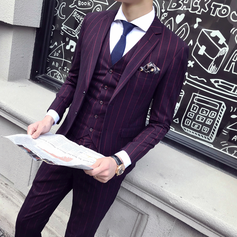 Sensfun Terno Blue Striped Tuxedo Man Suit Blazers Jacket And Pant Suit Silm Style Casual Business Formal Costume Homme Mariage