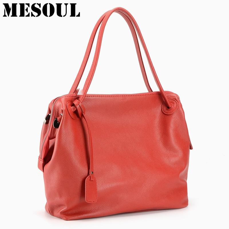 MESOUL Brand Totes Women's Handbag 100% Soft Real Cow Leather Red Shoulder Bag Female Satchel Bag Fashion Bags For Women 2017 summer soft cow leather bag fashion small totes brand women handbag red 100