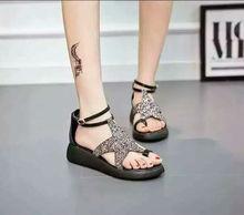 Fashion Women Platform Sandals Purple & Silver  Rhinestone Cross Stars Women  Summer Mid Heel Platform Sandals Shoes