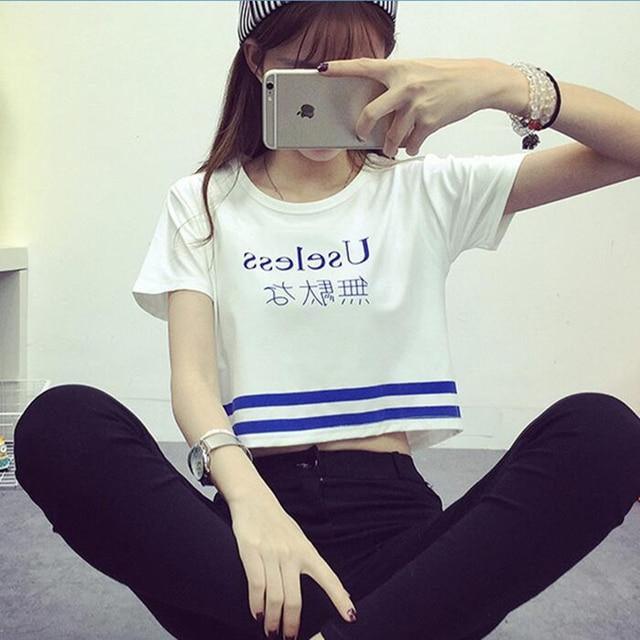Japanese Letter Printed Fashion Crop Top Short-sleeved T shirt Women Chic Sexy Ladies T shirts 2018 Summer Harajuku Girls Tee 3