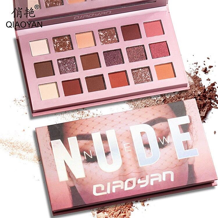 18Color Nude Shining Eyeshadow Matte Makeup Glitter Pigment Smoky Eye Shadow Pallete Waterproof Powder Pigment Cosmetics