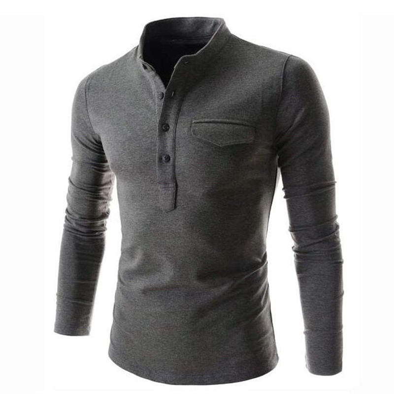 New Design Solid Color   Polo   Shirt Men 2019 Fashion Stand Collar Gray Long Sleeve   Polo   Shirt Casual False Pocket Henley Shirt