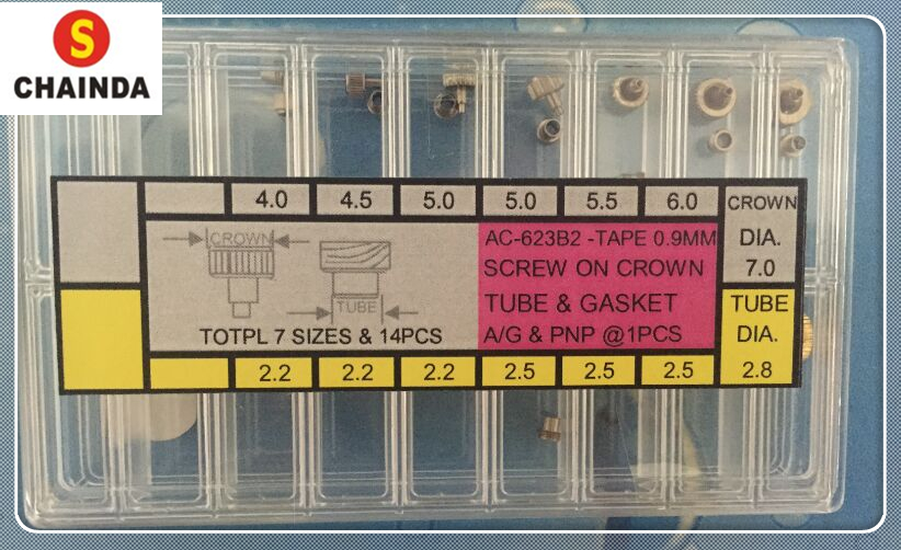 Free Shipping 14pcs Yellow Copper Screw On Watch Crown with Gasket for Watch Repair free shipping 14pcs u2008b sop 8