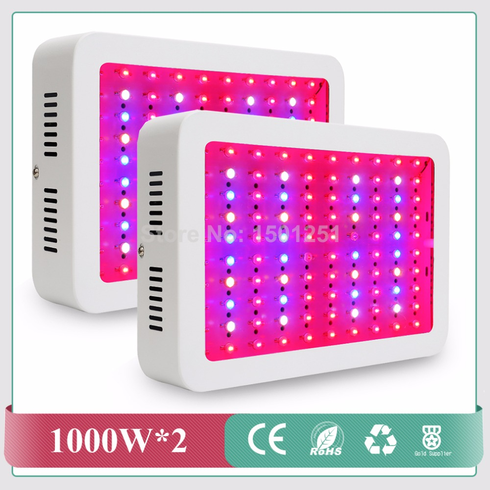 (2pcs/lot) 1000W Double Chips Led Grow Lights Full Spectrum Growing Lamps for Greenhouse Hydroponics Systems Free shipping 2pcs full spectrum ufo 10w double chips 360w 24red 5blue 2warm white 2white 2ir 1uv led grow lights for hydroponics flowers