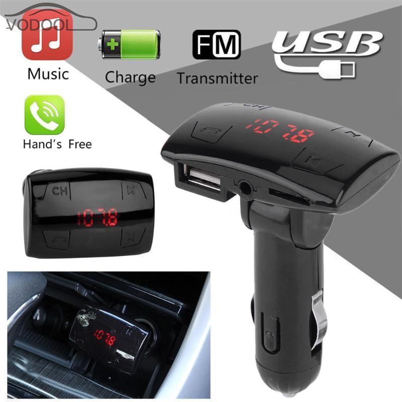 VODOOL Bluetooth Handsfree Car Kit Wireless FM Transmitter Modulator BT TF Card MP3 Player 2.1A USB Car-Charger built-in Mic