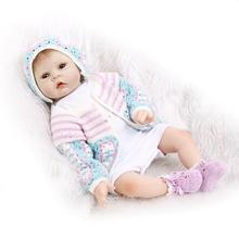 Nicery 22inch 55cm Reborn Baby Doll Magnetic Mouth Soft Silicone Lifelike Girl Toy Gift for Children Christmas Blue Pink White