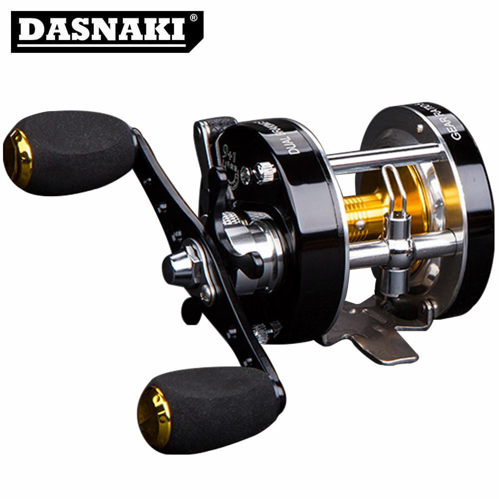 DASNAKI Centrifugal Brake 5.2:1Corrosion-resistant Fishing Reel With Sound Click Spinning Metal Right Left Hand Bait Casting