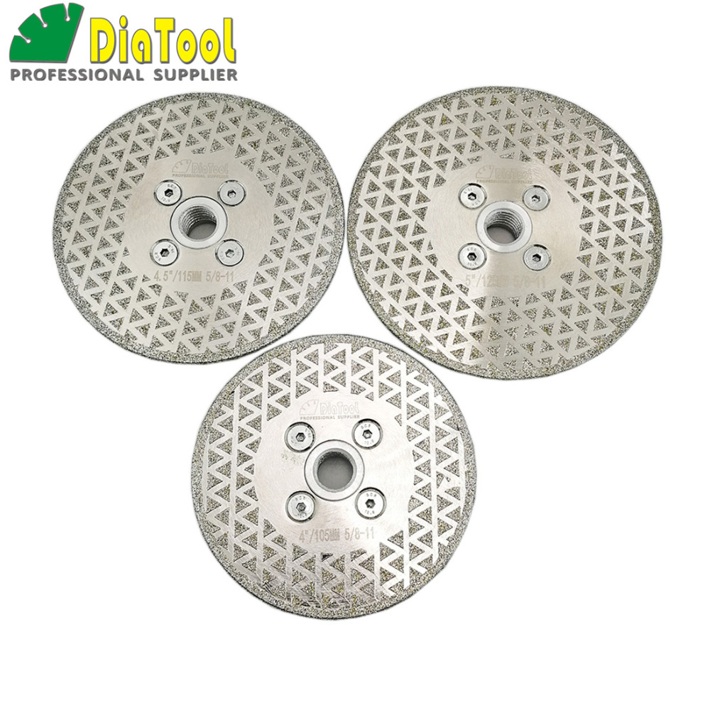 DIATOOL 1pc Electroplated Diamond Cutting  Grinding Disc Saw Blades Single Side Coated Diamond Wheel With M14 Or 5/8-11 Flange