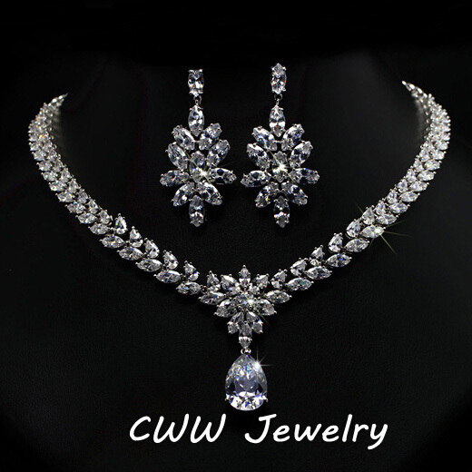 Cwwzircons Luxury Cubic Zirconia Bridal Jewelry Accessories Crystal Long Wedding Earrings And Necklace Sets For