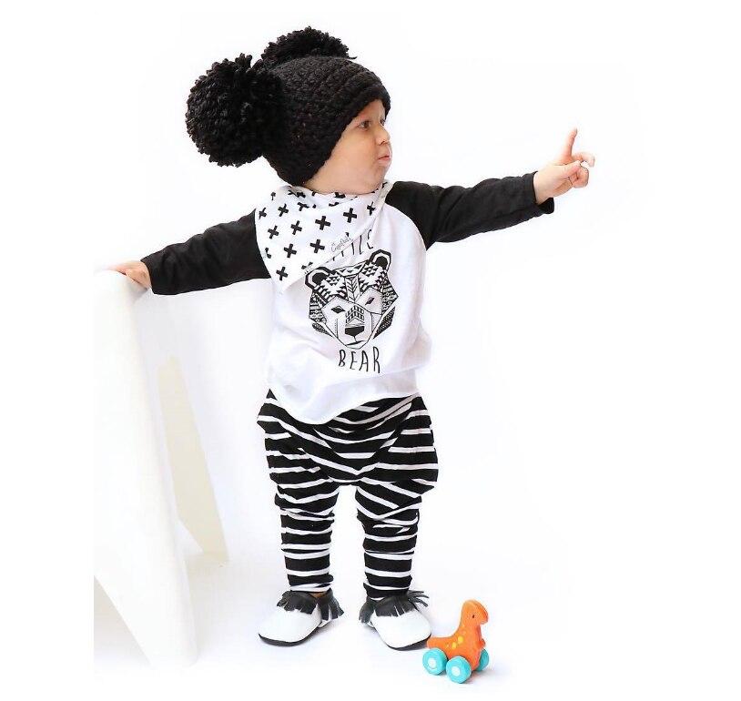 100% Pamuk 2016 Moda Stil Unisex Setleri Uzun Kollu O-Boyun 2 Parça Hayvan Kazak Bebek Erkek Kız Setleri SMT-125