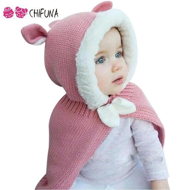 2016 la Primavera de Invierno Lindo Del Oído de Conejo de Dibujos Animados Niñas Suéter Capa con Arco Kids Niños Prendas de vestir exteriores Del Cabo Niños Capas Del Bebé ropa