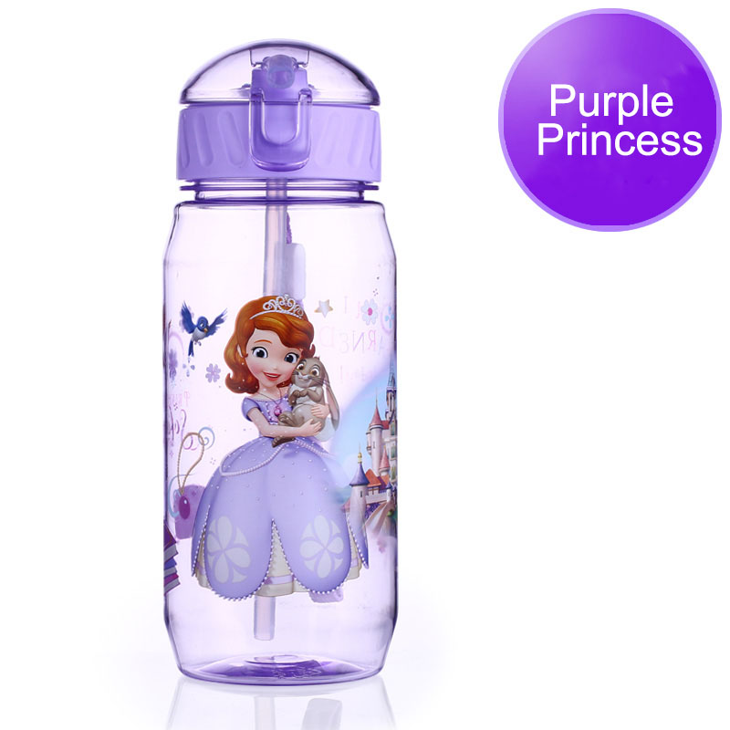 Disney 17 Children Straw Plastic Water Bottle BPA Free Lovely Cartoon Eco-friendly With lid Portable Camp Student Water tumble 17