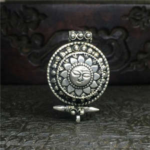 TGB086 Tibetan silver Sun God Amulets Prayer Box Tibet Double Layer Amulet Box Pendants Nepal Antiqued GHAU Jewelry