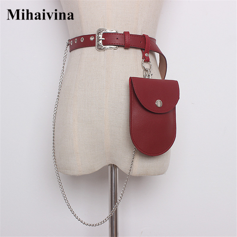 Mihaivina Waist Pack Women Waist Bag Leather Belt Bags Female Fanny Packs Waist Belt Bag Detachable Belt Chain Hip Bum Pouch