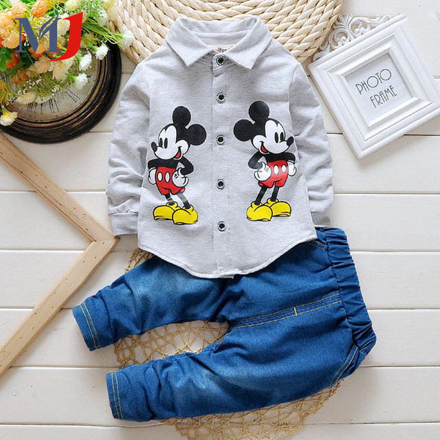 2016 Boys And Girls Jacket Jeans 2pcs Minnie Denim Cartoon Casual Long-sleeved T-shirt Coat Suits Children