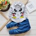 2016 Niños Y Niñas de La Chaqueta Vaqueros 2 unids Minnie de Dibujos Animados de Mezclilla Informal de manga larga T-shirt Escudo Trajes de Los Niños