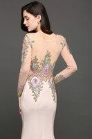 Robe de Soiree Longue Luxury Beaded Lace Mermaid Long Sleeve Evening Dress  Sexy Sheer Back Evening Gown Vestido de Festa 3