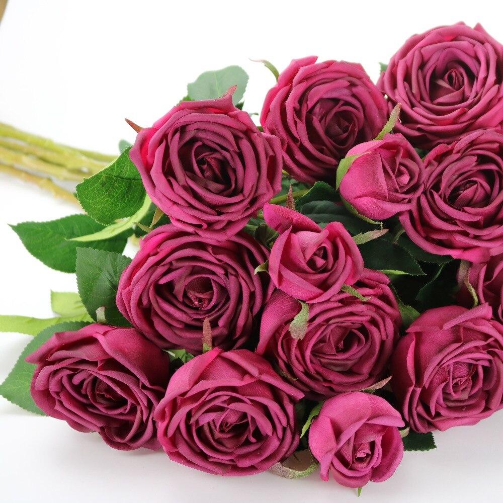 Bouquet de fleurs artificielles de haute qualité vraie touche PU 3 têtes Rose décoration de Table de fête pour noël et nouvel an
