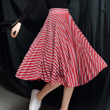 2019 Womens Striped High Waist Skirt Fashion Lurex Casual Long Pleated Skirts Autumn A-Line Midi Saias Faldas
