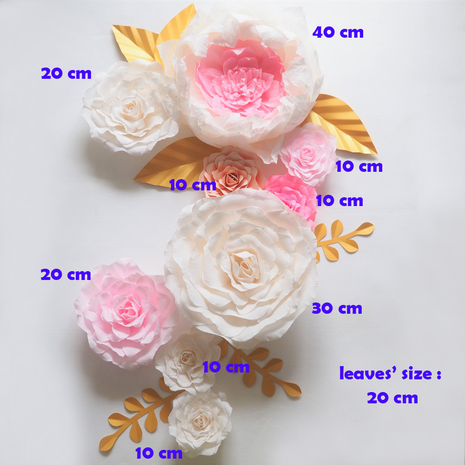 Giant Paper Flowers Backdrop Artificial Handmade Crepe Cardstock