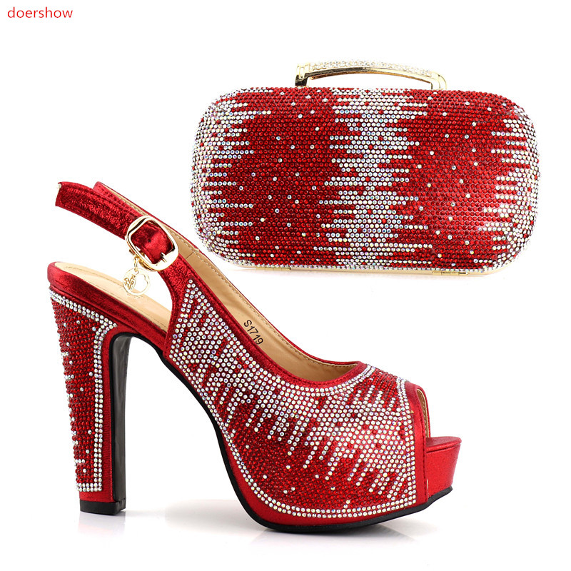 doershow red Color Italian Shoes with Matching bags For Party african Shoes And Bags Set For Wedding Shoe and Bag Sets JJC1-10 doershow italian shoe with matching bag silver african shoe and bag set new design matching shoes and bags for party bch1 19