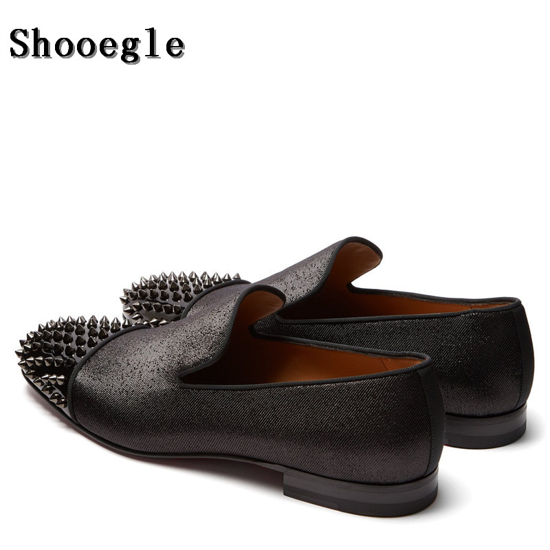 SHOOEGLE High Quality Black Men Spike Shoes Slip-on Sapatilhas Low Heeled Men Loafers Casual Zapatillas Hombre Cool Style Mens SHOOEGLE High Quality Black Men Spike Shoes Slip-on Sapatilhas Low Heeled Men Loafers Casual Zapatillas Hombre Cool Style Mens