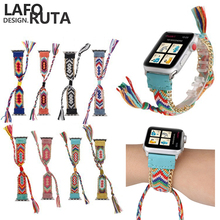 Laforuta Bohemian Ethnic Antique Style Watch Band for Apple Series 4/3/2/1 Fashion Nylon Strap iWatch 38/40mm 42/44mm