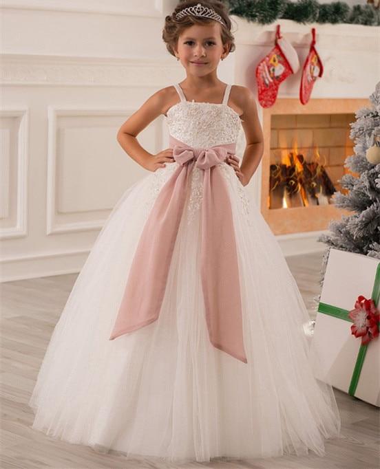 Ball Gown Ivory Tulle Spaghetti Straps Lace Beads Flower Girl Dress Kids Princess Wedding Pageant Gown Custom Size plus size asymmetric hem spaghetti strap dress