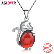 Real Pure 925 Sterling Silver Statement Cute 3D Red Crystal Zircon Monkey Necklaces & Pendants For Kids Birthday Gift 925 pure silver christmas bells silver pendants