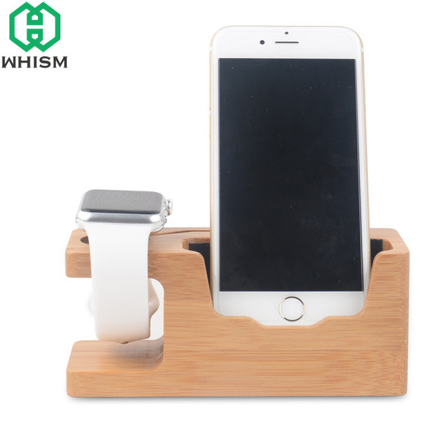 Whism Bamboo Wooden Charger Station Cellphone Organizer Charging Dock Mobile Phone Cradle Holder Watch Storage