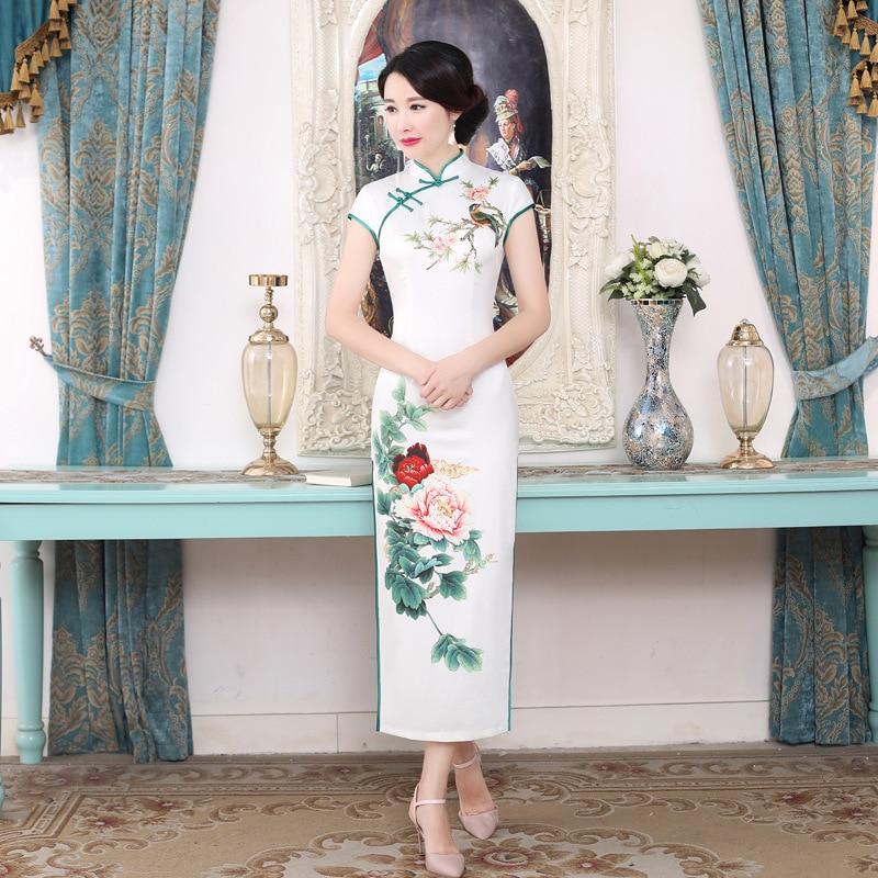 Women Chinese Ancient Print Flower Qipao 2018 Short Sleeve Cheongsam Vintage Mandarin Collar Vestidos Office Business Dress 3XL