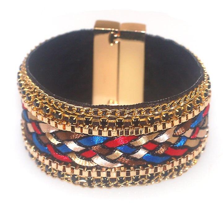 Magnetic wrap bracelet brazilian wide Magnetic bracelet,braided style bracelet with magnetic clasp B1595