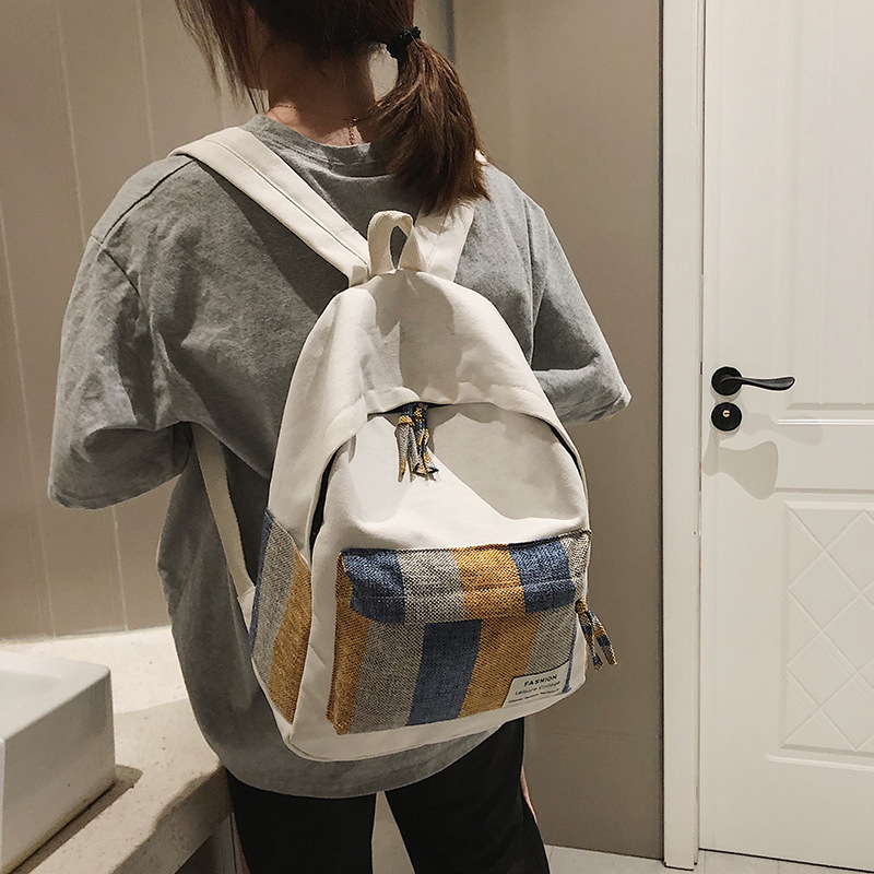 NEW ARRIVAL Summer Backpack Canvas School bag Stripe Backpack School Letter Simplicity Zipper Backpack in Women 39 s Casual Daypack in Backpacks from Luggage amp Bags