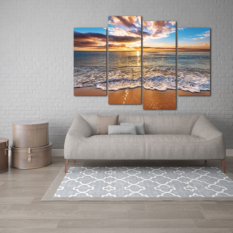 4 pieces Modular Pictures Modern Seascape Painting Canvas Art HD Sea - Home Decor - Photo 2