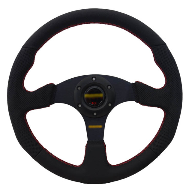Universal Fits Racing Sport 5128/350mm Suede Deep Dish Alloy Steering Wheel