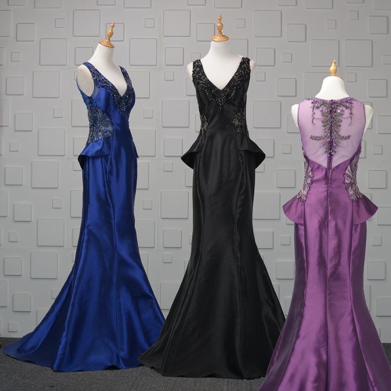Adroit Stock Beaded Crystal Mother Of The Bride Dresses 2019 Cheap Purple Black Royal Blue Evening Dress Long Mother Of The Groom Gowns Matching In Colour