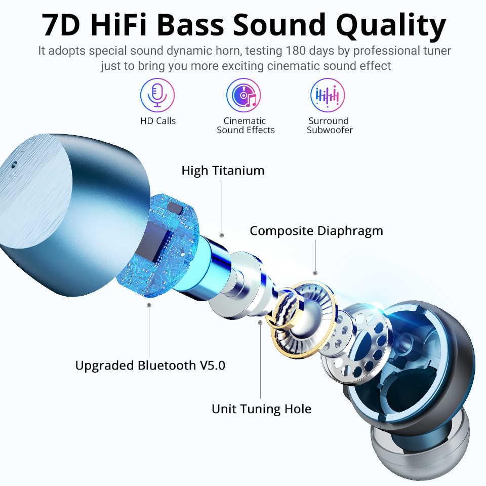Langsdom 2019 TWS bezprzewodowe słuchawki Bluetooth słuchawki wyświetlacz LED zasilania zestaw słuchawkowy do telefonu Bluetooth słuchawki douszne z mikrofonem