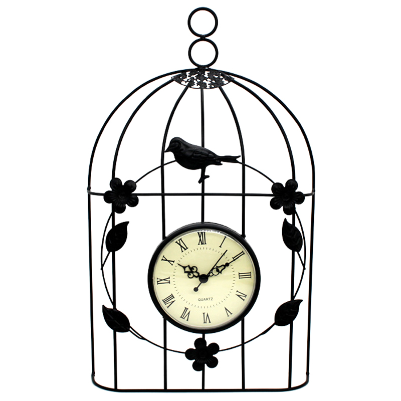 Bird Cage Wall Clock Vintage Antique Style Decor Hanging