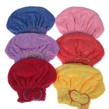 Из Микрофибры Для женщин Ванная комната волос Полотенца быстро высушить волосы шапка тюрбан суперабсорбирующих головы Обёрточная бумага душ Кепки Ванна Полотенца s