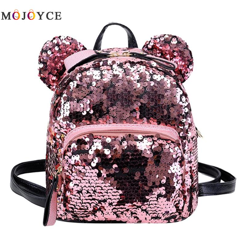f786accd0e16 Women Shining Sequins Backpacks With Bear Ears Teenage Girls Party Mini  School Backpacks Mochila Feminina mini