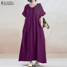 Summer Dress 2018 ZANZEA Women Vintage Casual Loose Solid Long Maxi Dresses Short Sleeve O Neck Cotton Vestidos Plus Size