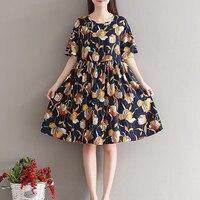 Women Summer Dress Mori Girl Short Sleeve Floral Print A Line Dresses Blue Color O Neck