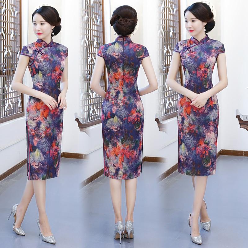 Stylish Ladies Rayon Cheongsam 2018 Chinese style Mandarin Collar Knee Length Dress Womens Qipao Slim Party